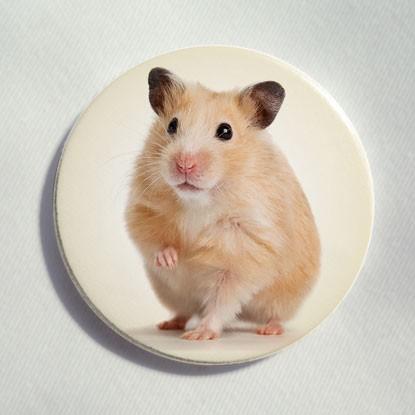 """Button """"stehender Hamster"""""""
