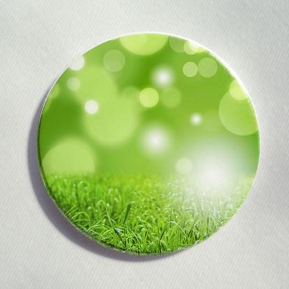 """Button """"Gras mit Tropfenspiegelungen"""""""