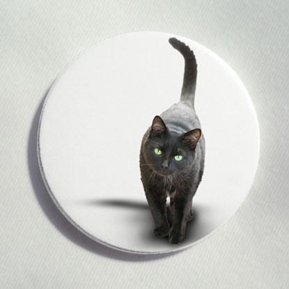 "Button ""schwarze Katze"""