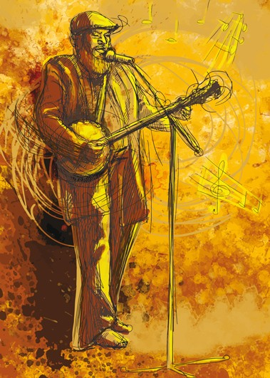 """Postkarte """"Banjo-Spieler"""""""