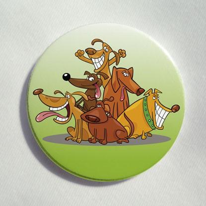 """Button """"Sechs lustige Hunde"""""""