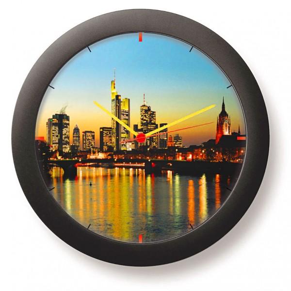"""Städtewanduhr """"Frankfurter Skyline in einer Abendstimmung"""""""