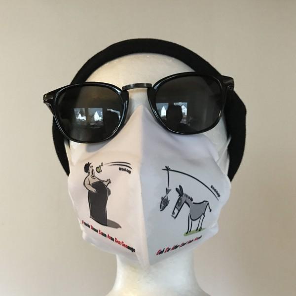 """Maskenüberzieher """"Esel und Diva"""" + 2er-Set FFP2-Maske"""