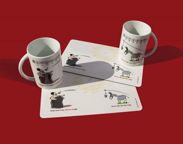 """Frühstücks-Set: 1 Tasse """"Esel und Diva"""", 1 Frühstücksbrettchen """"Esel und Diva mit Quintenzirkel"""""""