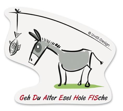 "Aufkleber ""Esel"", transparent"