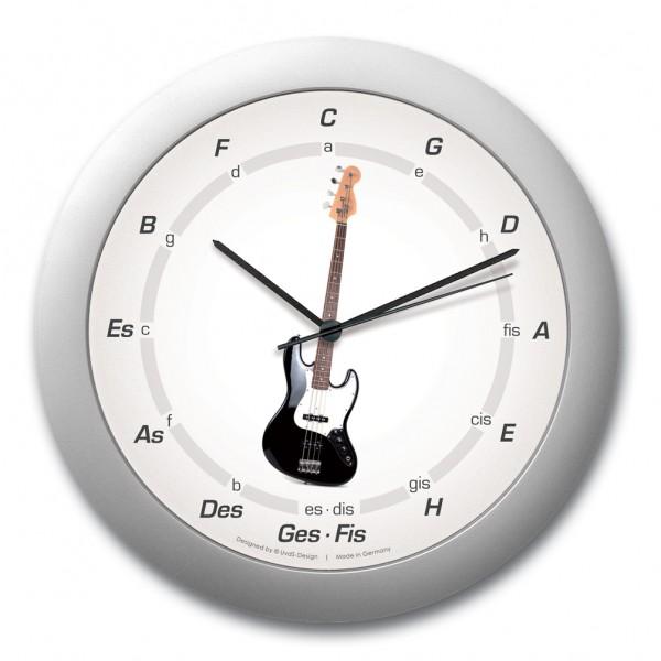 """Quintenzirkeluhr """"E-Gitarre"""", schwarz-weiß"""