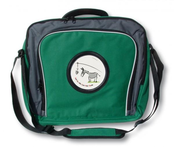 """Laptop-Tasche mit """"Quintenzirkel und Esel"""", grün"""
