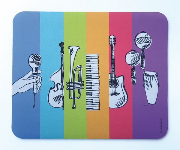 "Mousepad ""Instrumente auf bunten Flächen"""