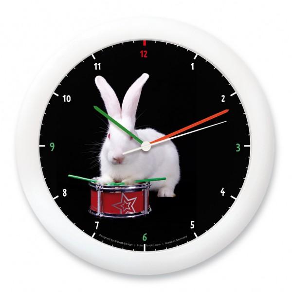 """Wanduhr """"Kaninchen mit Trommel"""""""