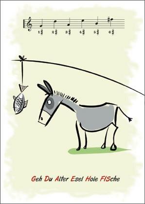"Musiktheorie-Postkarte ""Esel"""