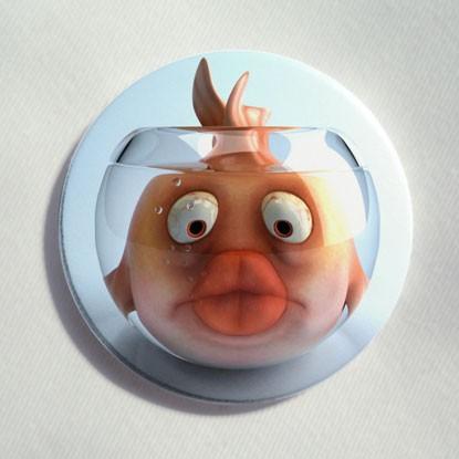 """Button """"Fisch im Glas"""""""