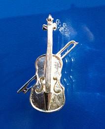 """Geige mit Bogen"" als Anstecknadel"