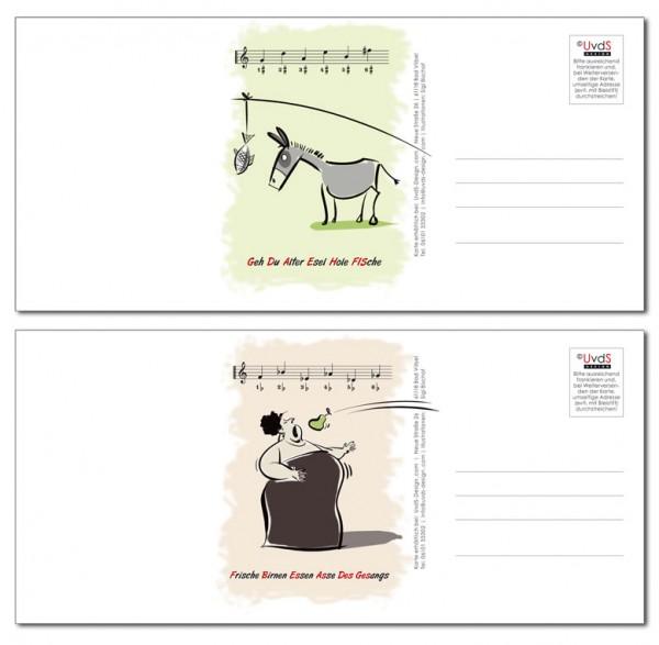 """Musiktheorie-Doppel-Postkarte """"Esel und Diva"""""""